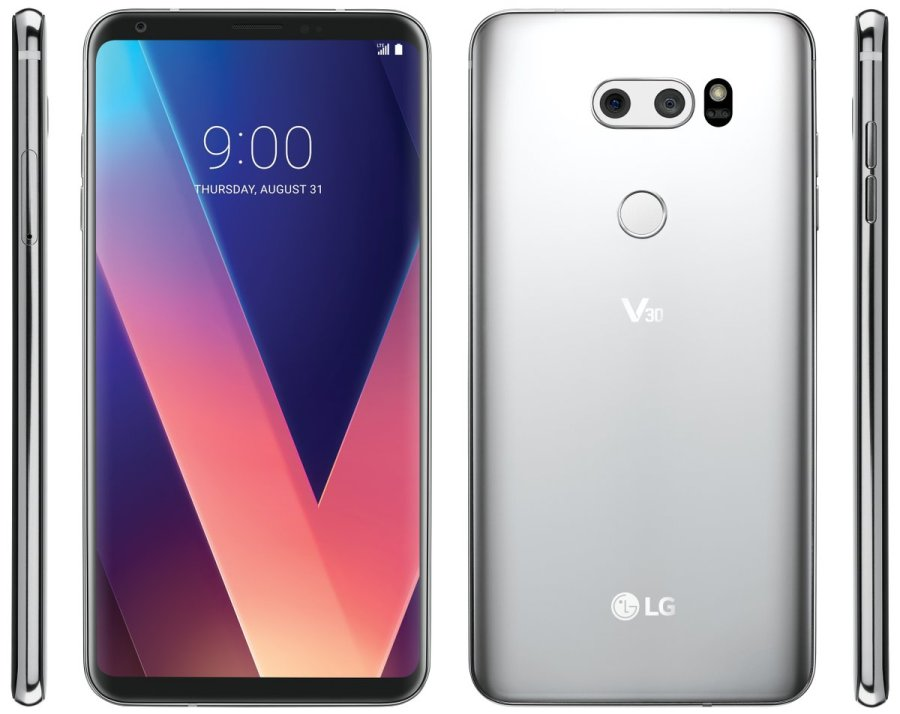 "Frente, dorso y aristas laterales del LG V30 color ""Cloud Silver""."