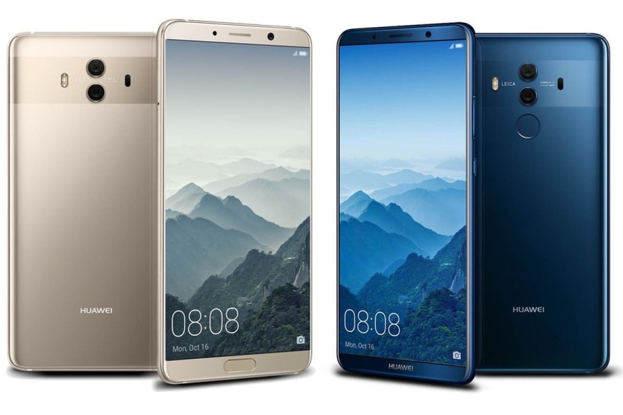 "Frente y dorso del Huawei Mate 10 Pro en colores ""Champagne Gold"" y ""Midnight Blue""."
