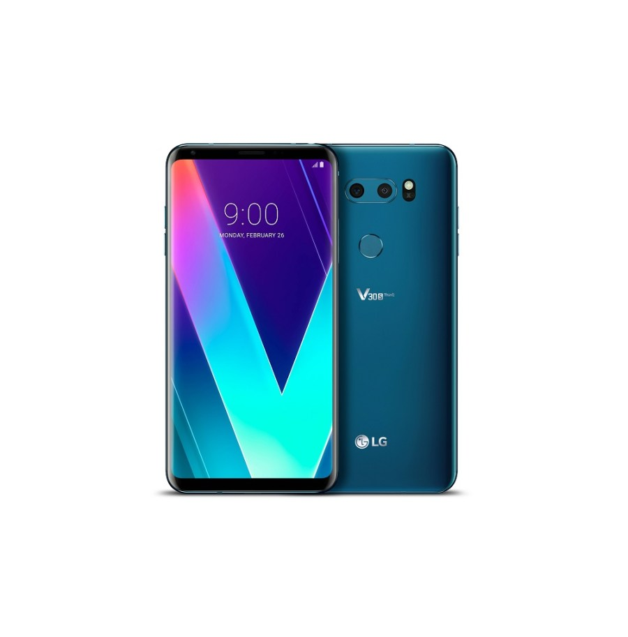 "Frente y dorso del LG V30s ThinQ en color ""New Moroccan Blue""."