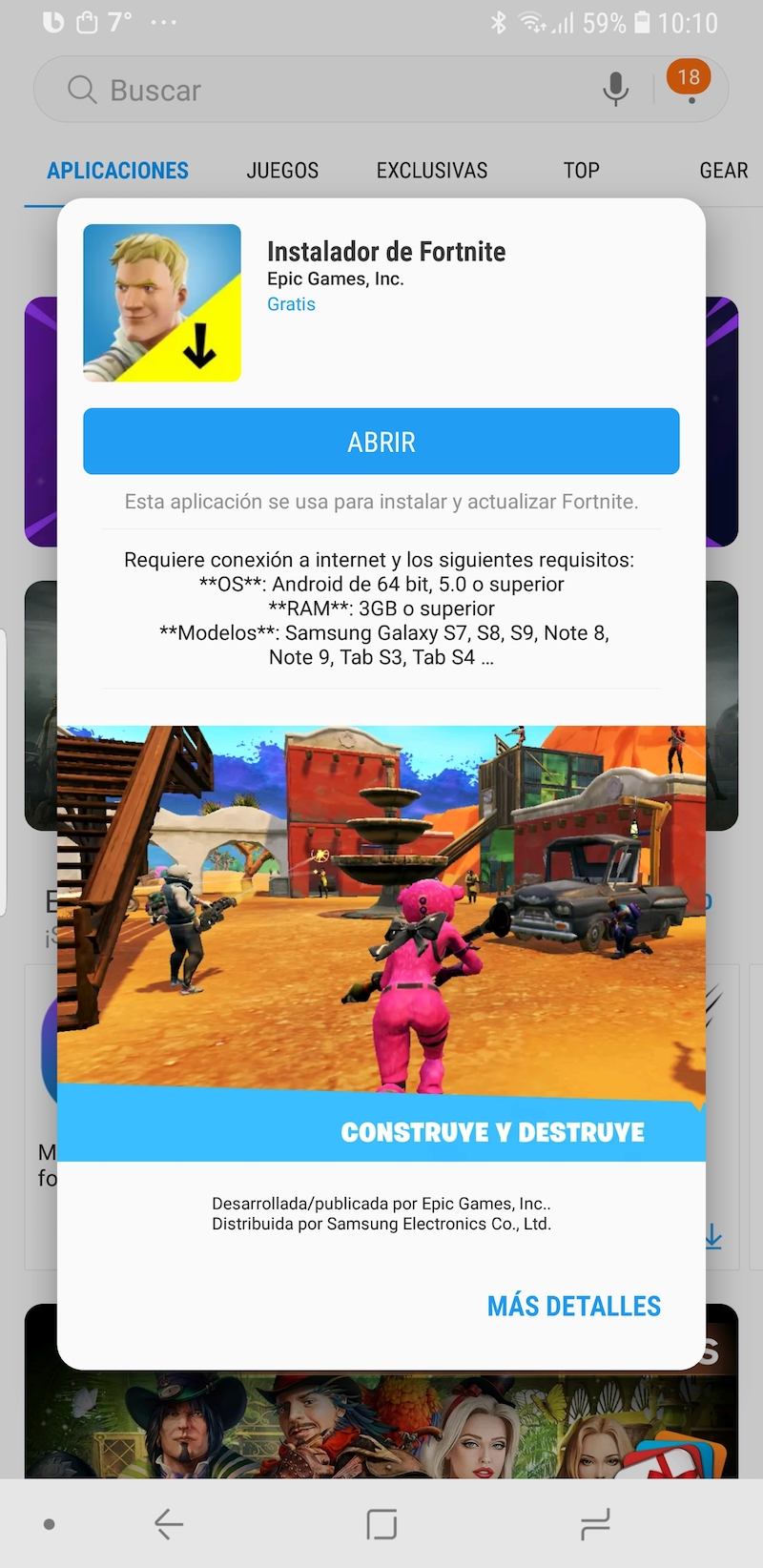 Fortnite android galaxy apps