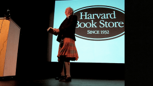 """Not every man can pull off a kilt, but McCall Smith, who lives in Edinburgh, Scotland, did so with panache. To a packed house, he read from """"The Limpopo Academy of Private Detection"""", the 13th book in the No. 1 Ladies' Detective Agency series."""