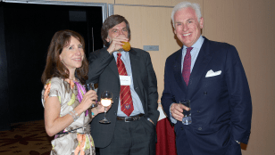 Irene Danilovitch, Prof. David Hunter and Ambassador John Danilovitch at a dinner at the Kilimanjaro Hotel Kempinski.