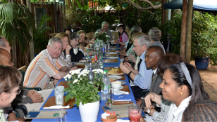 After a morning spent touring clinics and meeting with patients enrolled in BHP clinical trials, the group enjoyed lunch at a garden restaurant in Gaborone.