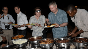 After wildlife sightings, the group enjoyed a braai, a traditional Botswana barbeque. Left to right: Dr. Lee Chin, Dr. Andrew Logan, Dr. Deborah Rose, Michael Walsh, and Mokolodi staff member.
