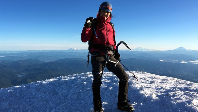 Amy Wu on the summit of Mount Hood in Oregon.