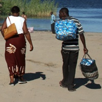 People waiting for the Ferry to Botswana in Kazungula