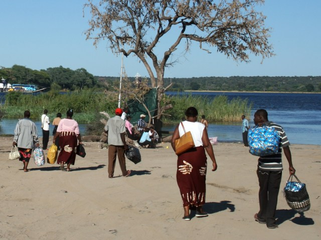 People waiting for the Ferry to Botswana in Kazungula.