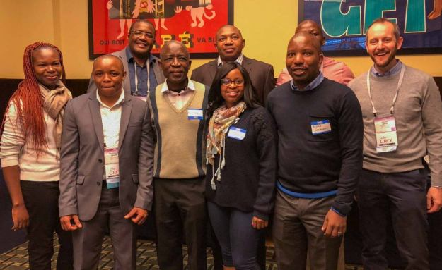 Some of the BHP delegates to CROI. (L to R, 1st row: Dr. Emily Shava, Keolebogile Mmasa, Dr. Mompati Mmalane, Dr. Unoda Chakalisa, Dr. Gbolahan Ajibola. 2nd row: Dr. Sikhulile Moyo, Dr. Etienne Kadima, Dr. Simani Gaseitsiwe, Dr. Joseph Jarvis.