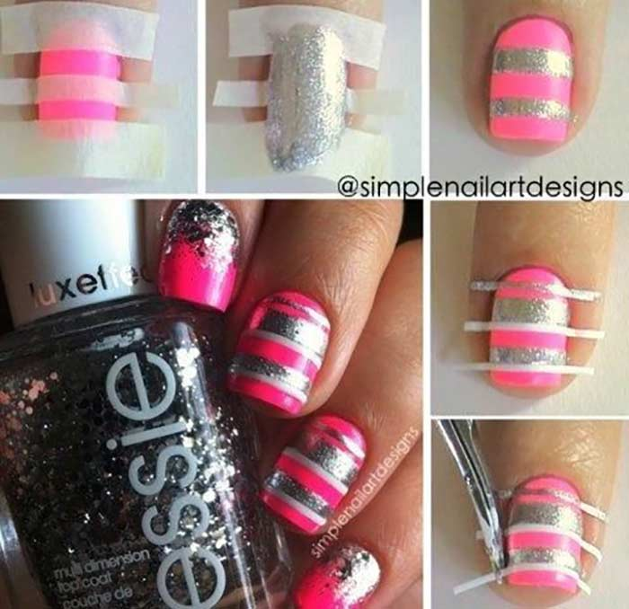Pink And Silver Stripes Nail Art