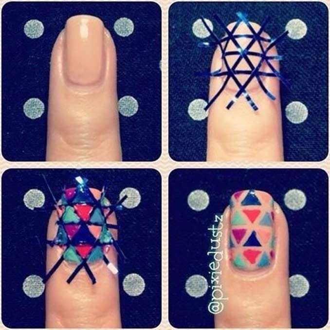 Triangle Nails Simple Nail Art Tutorial For Short