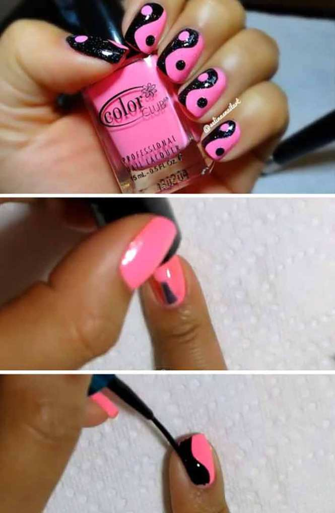 Pink And Black Yin Yang Nail Art Design