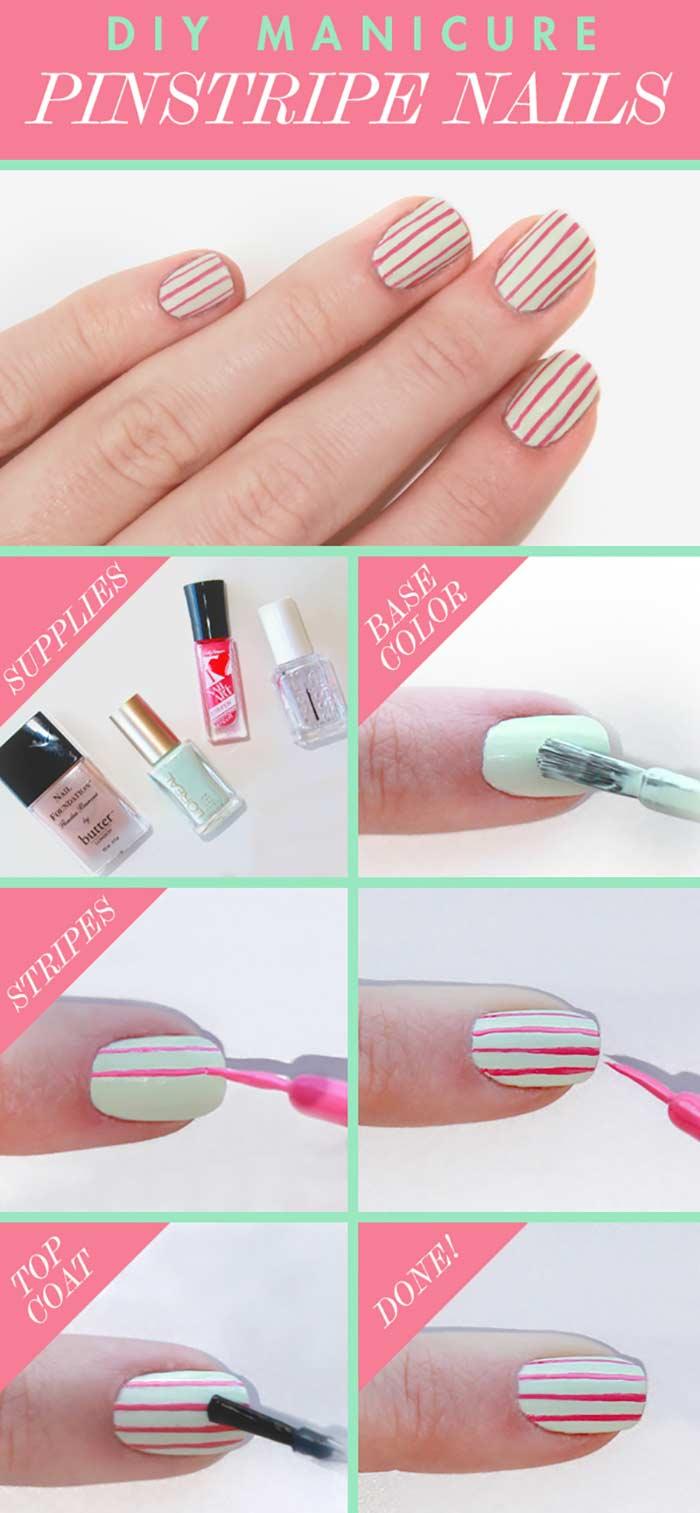 Pinstripe Nails Short Nail Designs