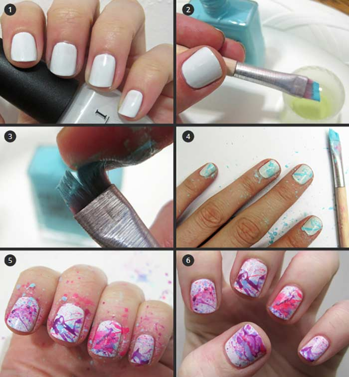 Paint Splatter Nail Art Tutorial Simple Design For Short Nails