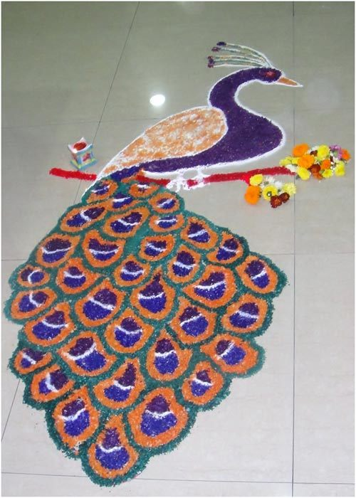 peacock rangoli designs
