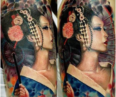 Traditional Japanese Geisha Tattoo Designs