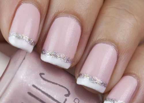 Glittering French Tips Nail Design