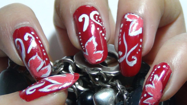 Red Fl Nail Art Five