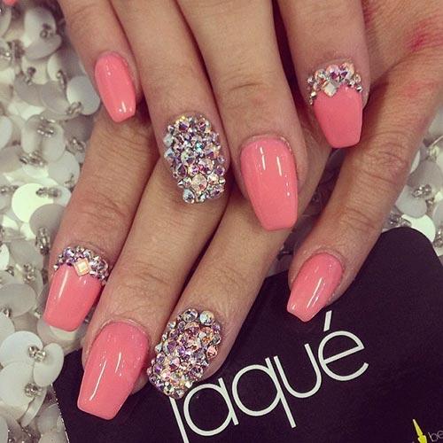 Chunky Rhinestones With Pink Nails Acrylic Nail Designs