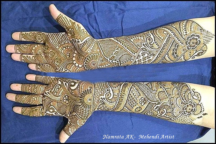 Simple Bridal Mehndi Designs For Full Hands