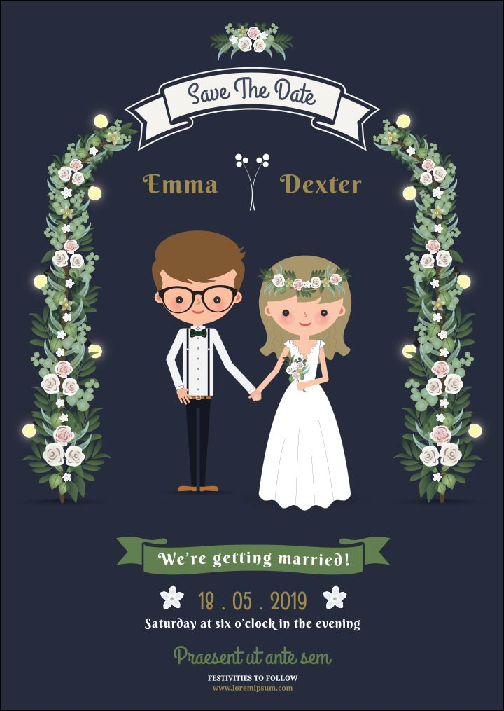 10 Super Adorable Cartoon Wedding Invitations For The Fun Loving Couple