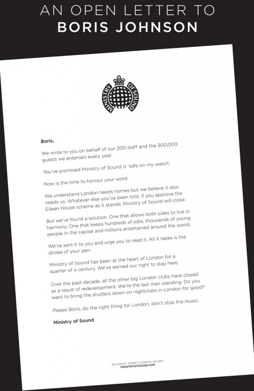 Ministry Of Sound write open letter to Boris Johnson