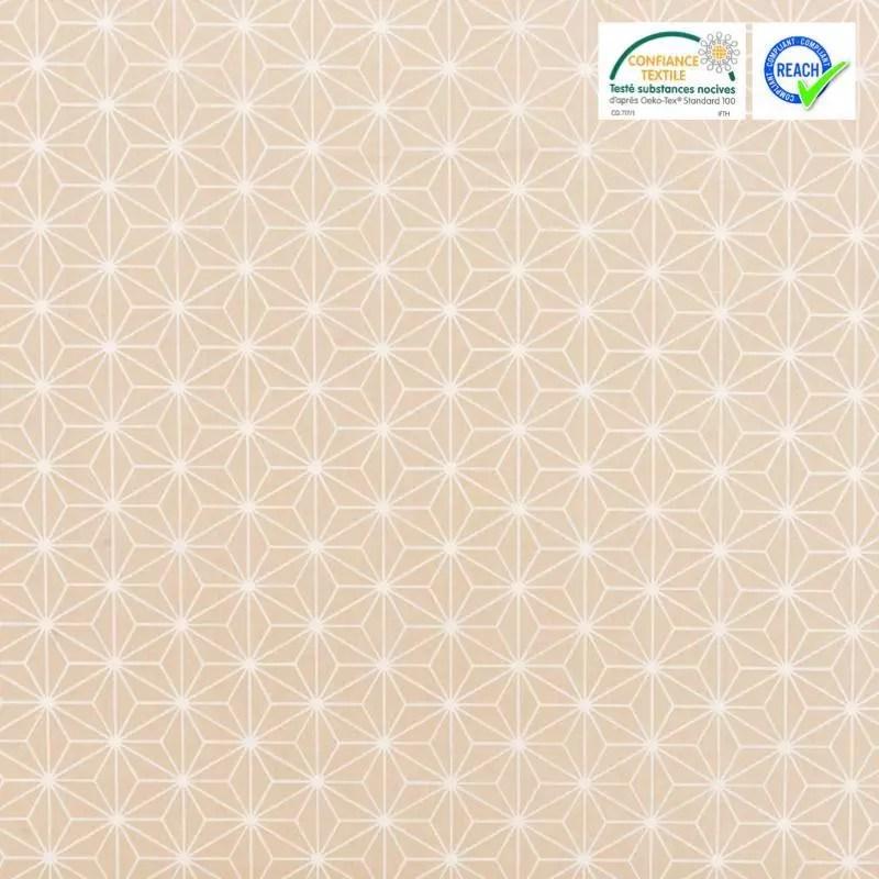 coton beige grand motif asanoha blanc