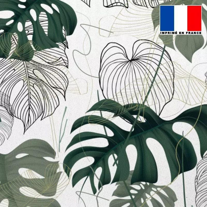 tissu occultant ecru motif jungle vert dessin et realiste