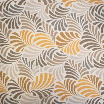 jacquard ecru motif feuille ocre janis grande largeur jacquard ecru motif feuille ocre janis grande largeur