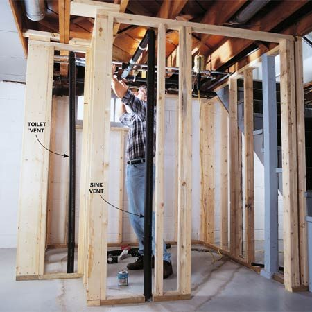 toilet vent plumbing diagram single phase submersible motor starter wiring how to plumb a basement bathroom   the family handyman