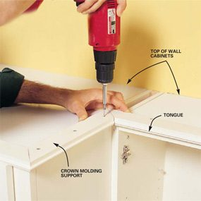 How Do You Attach Crown Molding To Kitchen Cabinets