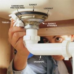 Kitchen Sink Drain Solid Wood Cabinets Wholesale How To Replace A Basket Strainer The Family Handyman Test For Leak