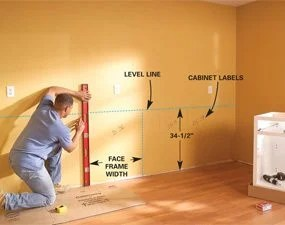 kitchen cabinets set rooster rugs how to install the family handyman photo 1 mark cabinet height