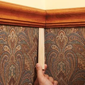chair rail corners without coping swivel chairs uk ikea how to install a molding the family handyman photo 5 solve problems with hidden shims