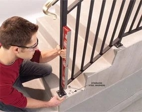 Safety First Install An Outdoor Stair Railing — The Family Handyman | Outside Stair Railing Installation | 3 Step | Rail | Painted Porch | Sunroom | Door Offset