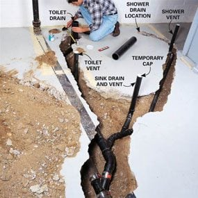 diagram of a toilet flush system home phone wiring how to plumb basement bathroom | the family handyman