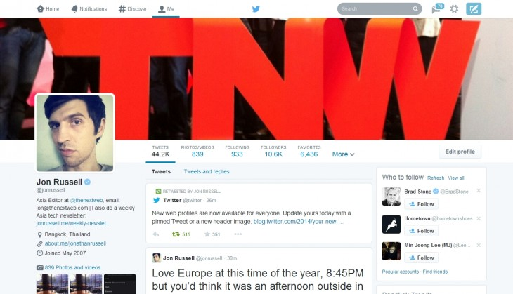 tw2 730x419 Twitters new Facebook like profile pages are now available to all users