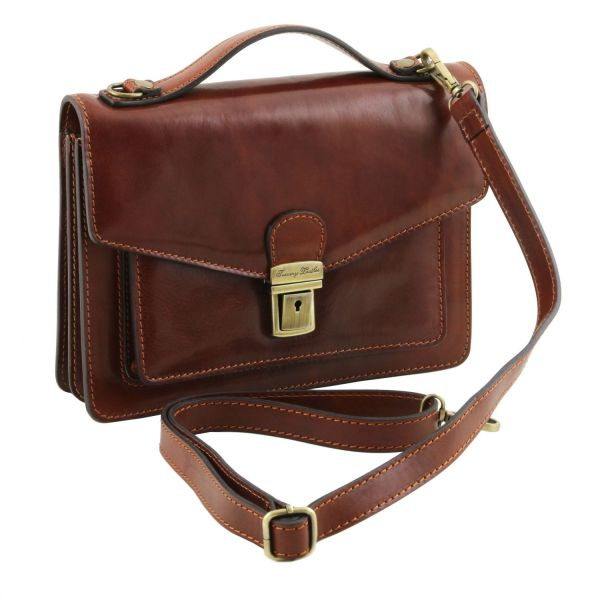 Eric Leather Crossbody Bag Dark Brown TL141443