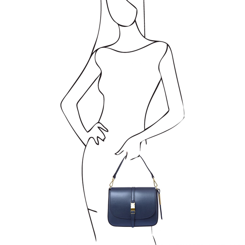 Nausica Metallic Leather Shoulder bag Dark Blue TL141642