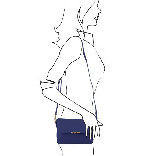 TL Bag Leather Clutch Handbag Dark Blue TL141584