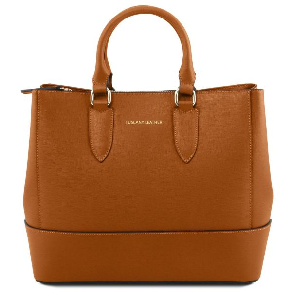 TL Bag Saffiano Leather Handbag Cognac TL141638