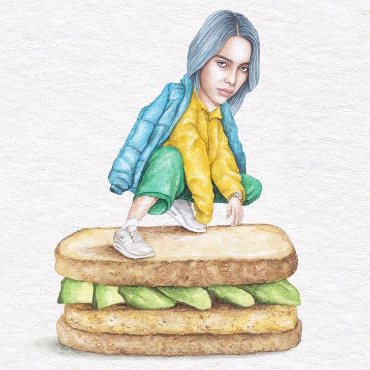 14 5 - Artista abre el apetito con los famosos posando sobre deliciosos sándwiches