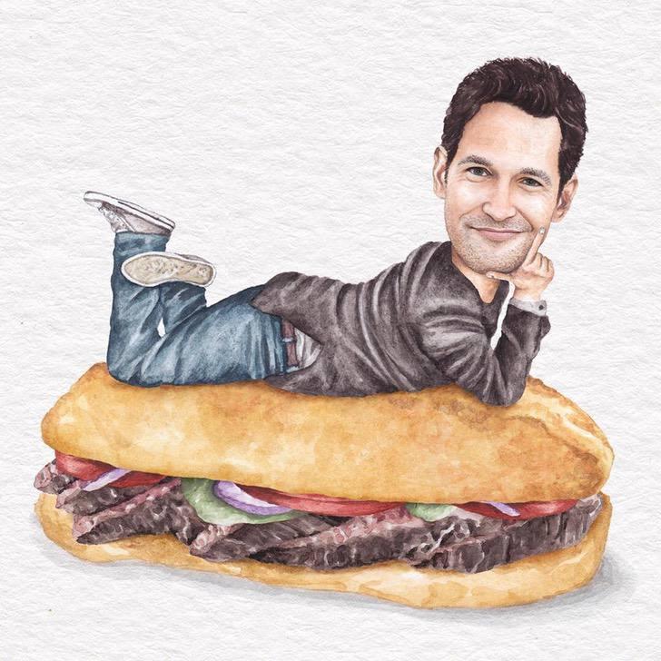 18 1 - Artista abre el apetito con los famosos posando sobre deliciosos sándwiches