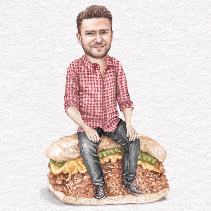 24 - Artista abre el apetito con los famosos posando sobre deliciosos sándwiches
