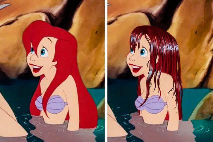 rrr - Así se verían las princesas Disney si tuvieran un cabello más real. Ariel por fin lo tiene mojado