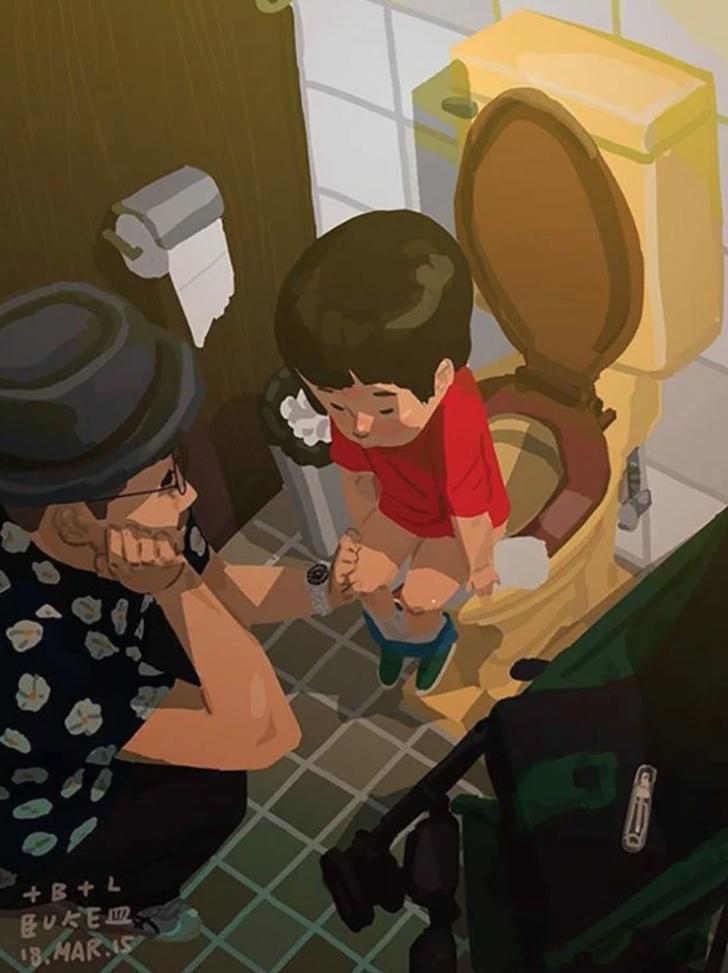 10 63 - 20 ilustraciones que muestran cómo es la vida de un papá soltero. Si mamá puede, papá también