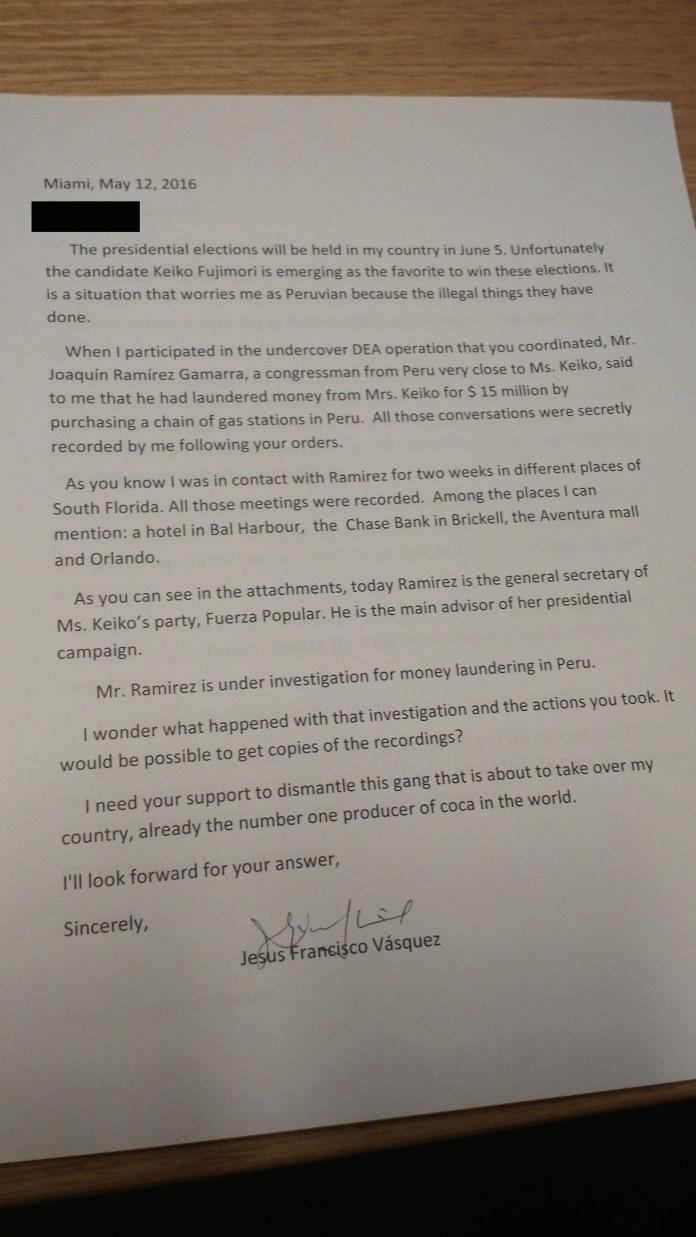 La carta del informante a la DEA.