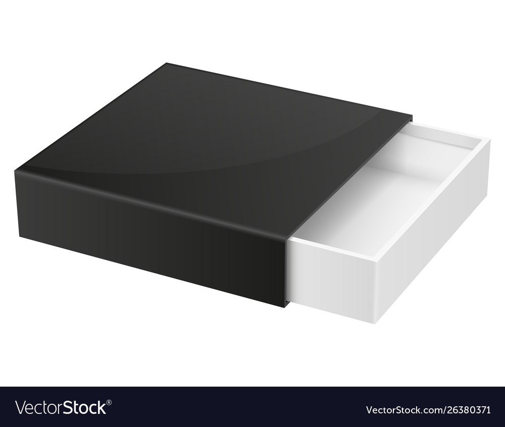 Download Slider box black blank open box mock up Royalty Free Vector