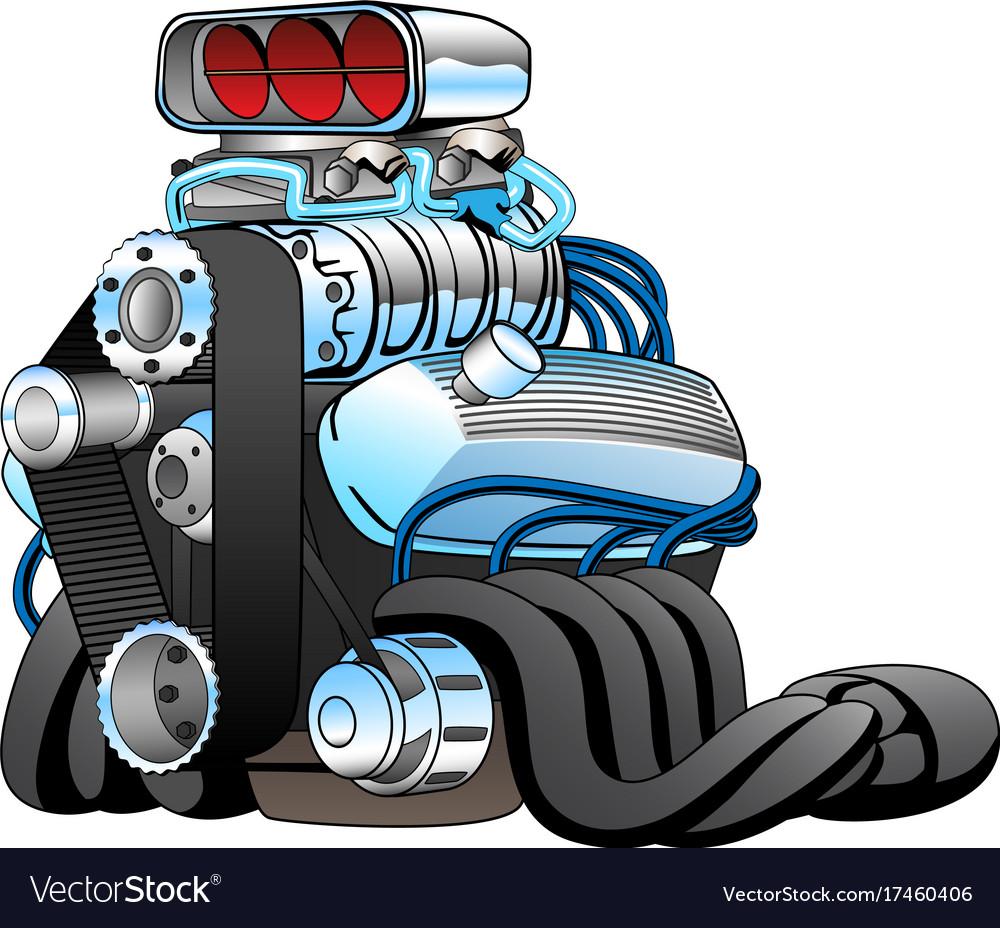 hight resolution of hot rod race car engine cartoon vector image
