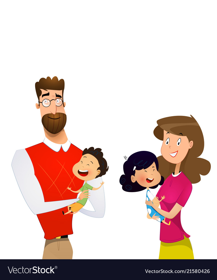 Mother And Father Cartoon : mother, father, cartoon, Cartoon, Family, Children, Mother, Father, Vector, Image