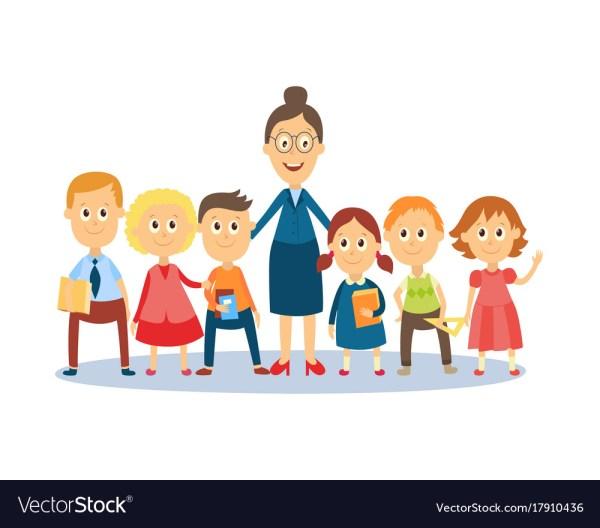 Cartoon Teacher Standing With Students Pupils Vector